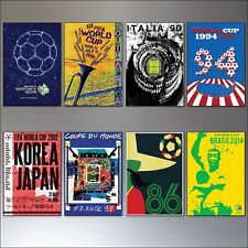 Football World Cup Posters from 1986 - 2014 vintage fridge magnets set of 8
