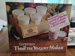 NOS VTG Contempra Thriftee Yogurt Maker 6 Glasses W/Lids 48oz Capacity