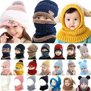 Kids Caps Knit Pom Hats Toddler Baby Boys Girl Warm Winter Bobble Beanie Scarf