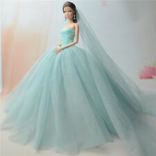 Fashion Handmade Princess Dress Wedding Clothes Gown+veil for Barbie Doll C02