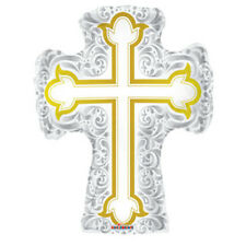 "Baptism/Communion Jumbo Cross Silver Gold Shape Foil / Mylar Balloon 28 """