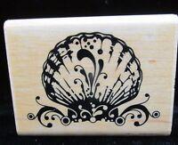 Seashell Wood Mounted Rubber Stamp Ornate Flourish Clam Shell Inkadinkado 99262K