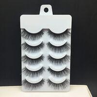 NEW 5Pairs Soft Makeup Cross Thick False Eyelashes Eye Lashes Nautral Handmade