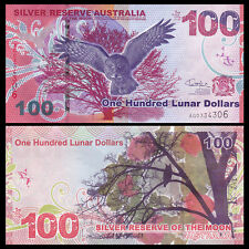 Silver Reserve of the Moon, Australia 100 Lunar Dollars, 2015, Colorful, UNC