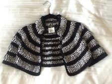 RARE!!! Authentic CHANEL Black/white Crochet Bolero JACKET FR-40