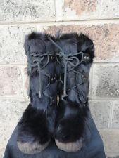 Womens Vtg Black Fur & Shearling Mid-Calf Winter Ski Yeti Mukluk Snow Boots Sz-8