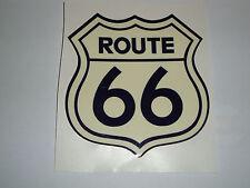 ROUTE 66  MOTORBIKE HELMET STICKERS  2 CREAM DECALS IOM TT HONDA SUSUKI NORTON