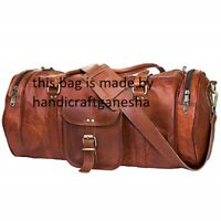 Men's Retro Advance Leather Gym Duffel Bag Travel Weekender Overnight Luggage