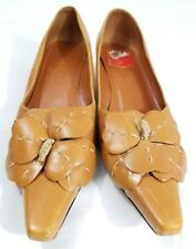 CELINE 36 1/2 Heels Kitten Pointed Pumps Brown Tan Flower Leather Italy Stitched
