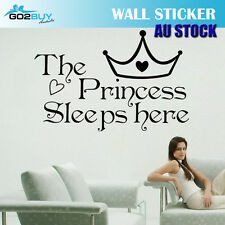 Wall Stickers Removable The Princess Sleeps Here Girl Bedroom Decal Picture Art