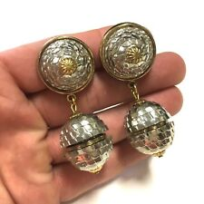 BIG & FuNkY VTG 80's Era Silver & Gold Tone DISCO BALL Look Clip Earrings HH360b