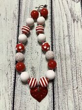 Red White Valentine Day Chunky Necklace / Baby /Girl Bubblegum Necklace