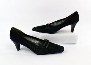 Stuart Weitzman Black Suede Cutout Square Toe Pump Heels Size 8 Made In Spain