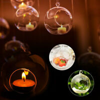 Glass Open Hanging Balls Clear Fillable Baubles Candle Tealight Holder