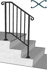 Iron X Handrail Picket #2 RAILING Rail Fits 2 or 3 Step