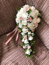 Wedding Flowers Bride's Shower Bouquet Ivory  & Vintage Peach  with Gyp £39.99