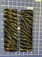 """jigged Textured1-pair (Water buffalo horn )knife Scales Handle  1 1/2""""x 5"""" X1/4"""""""