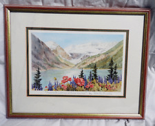 "Firmato incorniciato stampa-MARILYN Kinsella ""Papaveri & LUPINI A Lake Louise - 1993"