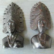2 Antique vtg carved Wood Tribal folk art Sculptures 1/2 Bust Aztec Incan Mayan