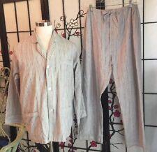 VTG CHRISTIAN DIOR MONSIEUR MEN L Cot/Poly Lightweight Pinstripe Pajama Set