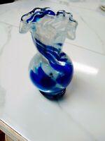 """Vintage Cobalt Blue & White Swirl Glass Vase. Hand Blown 7"""" X 3 1/2"""""""