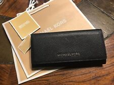 NWT$178 Michael Kors Jet Set Travel Carryall Flap Wallet Pebble Leather in Black