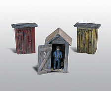 HO Woodland Scenics 214 Unpainted Metal kit * 3 Outhouses & Man