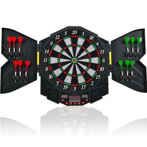 Elektronische Dartscheibe Dartboard mit Tür 12 Pfeile inkl. 4 LED 216 Spiele