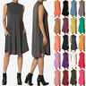 TheMogan Sleeveless Mock Neck Pocket Soft Jersey Fit & Flare A-Line Midi Dress