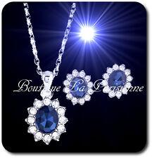 Schmuck Set Collier Kette Anhänger Ohrstecker Royal Blau Diana Strass Hochzeit
