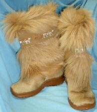 OSCAR SPORT Goat Fur Wool ITALY Beige Tan Boots Sz 36 5 6 Apres Ski Snow EUC