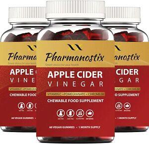 Vegan Apple Cider Vinegar 180 Gummies, 1000mg ACV with Vitamin C, Chromium, GMP