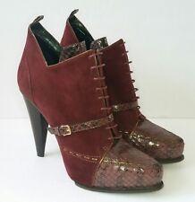 Derek Lam Donya Womens 9 Prune Burgundy Leather Snake Booties Plat Heels EUC$850