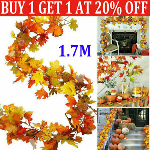 1.7m Artificial Trailing Ivy Maple Autumn Leaves Garland Vine Home Party Decor F