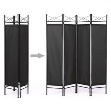 Room Divider Screen 4 Panel Blk Folding Partition Privacy Room Decor Metal Frame