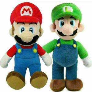 UK 2Pcs 25cm Super Mario Bros Plush Doll Mario Luigi Soft Toy Stuffed Animal Hot