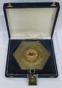 VINTAGE OLD EGYPT ROWING DIVING UNION FEDERATION PLAQUE WITH BOX & KEY CHAIN!!!