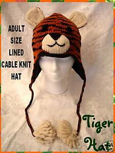delux TIGER HAT knit ADULT mens women TIGERS bengals costume furry cheeks SP ED