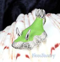 Sterling Silver Green Nudibranch Sea Slug Pendant Necklace Ocean diver Jewelry