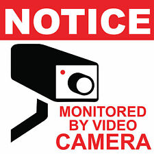 "Notice Monitored by video Camera Sign 8"" x  8"""