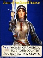 1915 Joan of Arc  WWI American Patriotic Wartime Advertisement Poster Print