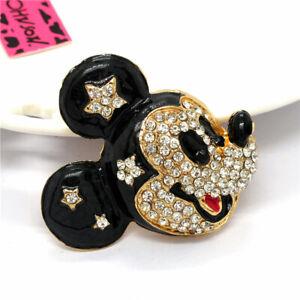 Betsey Johnson Black Enamel Crystal Cartoon Mouse Charm Animal Brooch Pin Gifts