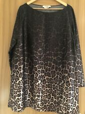 Marina Rinaldi Silk Tunic Top Size 27 Animal Leopard Print New