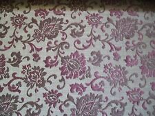 Cut Velvet Floral Scroll Upholstery Fabric BTY Calico Corners - Eggplant & Brown