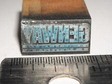 Vintage GENWAY Logo Letterpress Printers Block ENGRAVED Metal Stamp