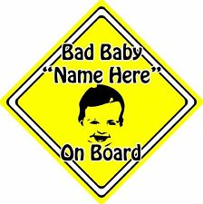 Personalised Bad Baby/Child On Board Car Sign ~ Baby Face Silhouette ~ Yellow