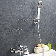 Waterfall Bathroom Mixer Tap Hand Shower Bath-tub Wall Mounted Chrome Faucet UK