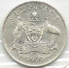 1921 KGV AUSTRALIA 6d SIX PENCE Sterling Silver about UNCIRCULATED - see scans