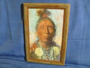 Vintage Oil Painting American Indian Portrait by Greg Shedd