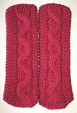 PInk Raspberry Cable & Garter Stitch Knit Fingerless Gloves Text  Hand Knit New